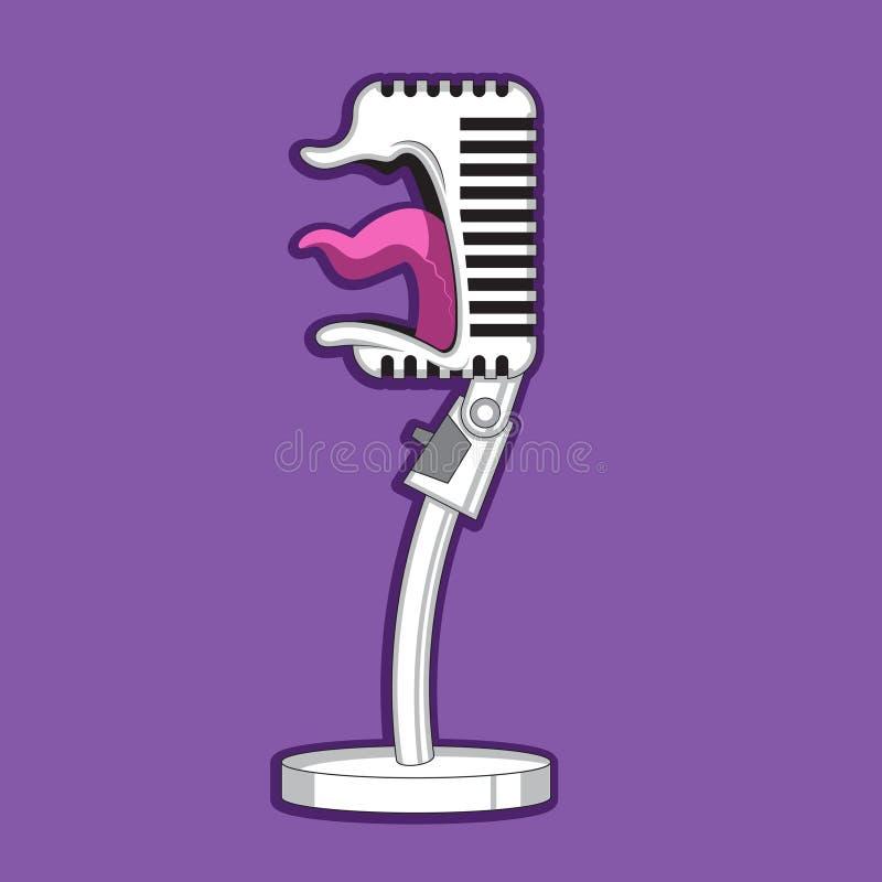 Os gritos retros do microfone do personagem de banda desenhada, cantam Imagem do vetor ilustração do vetor