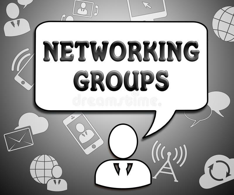 Os grupos de trabalhos em rede indicam as comunicações globais 3d Illustratio ilustração do vetor