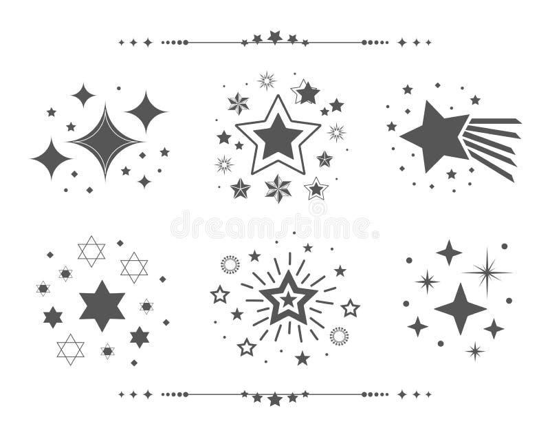 Os grupos pretos de ícones abstratos das estrelas da silhueta projetam o grupo de elementos no branco ilustração stock