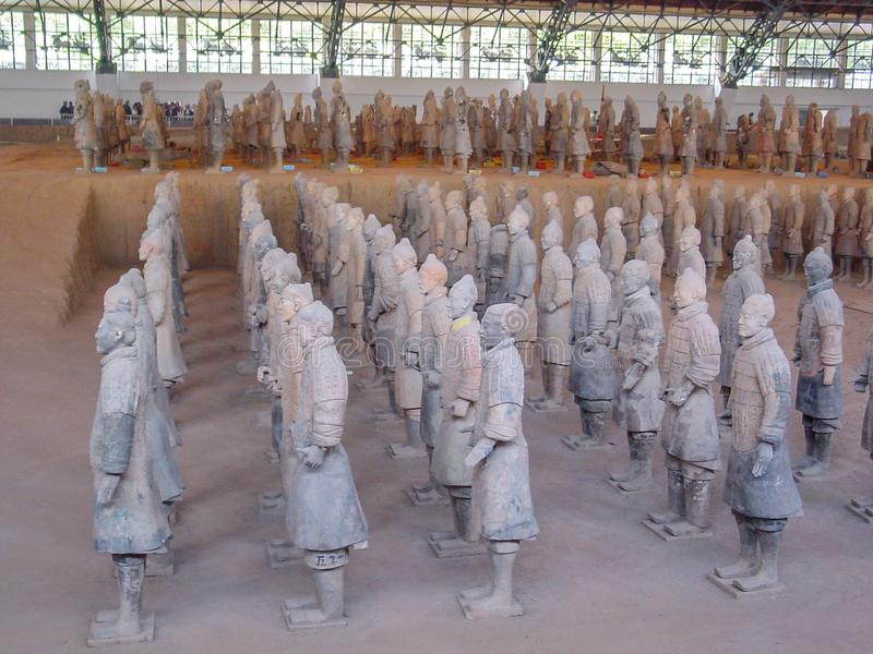 Os guerreiros do exército da terracota no túmulo do primeiro imperador de China's em Xian Local do património mundial do Unesco imagem de stock royalty free