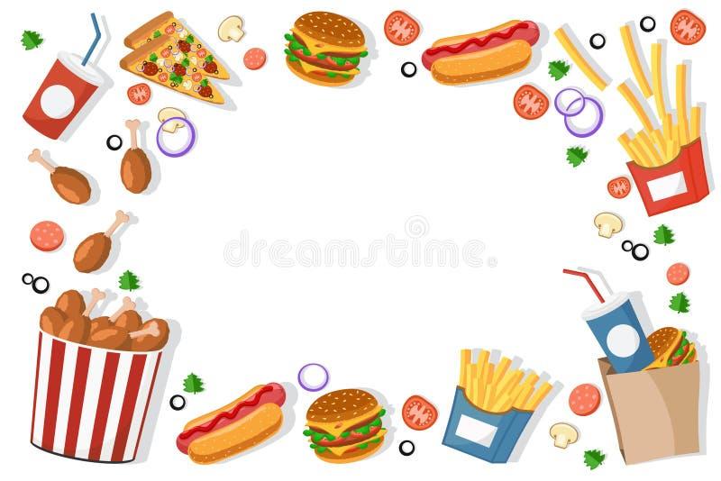Os hamburgueres do fast food, fritadas, cachorros quentes encontram-se em um quadro em um branco A vista da parte superior ilustração stock
