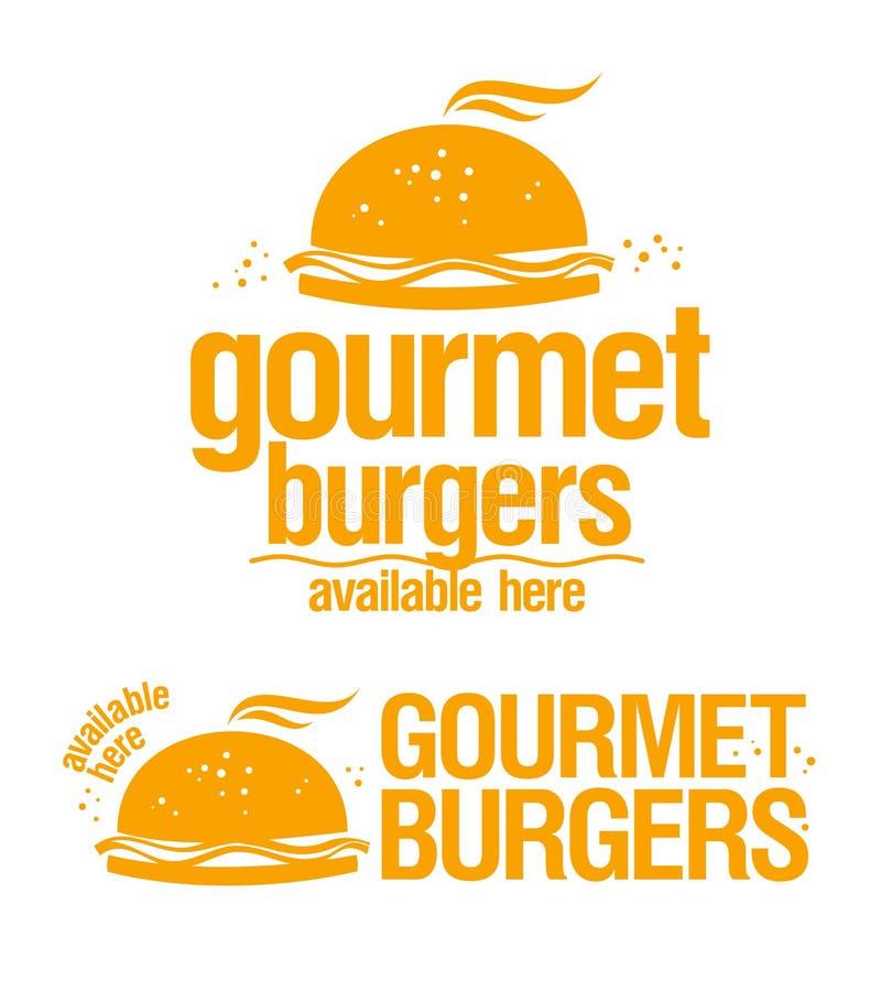 Os hamburgueres do gourmet disponíveis assinam aqui. ilustração stock