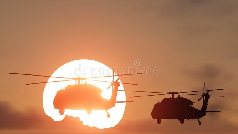 Os helicópteros expõem ao sol o grupo ilustração do vetor