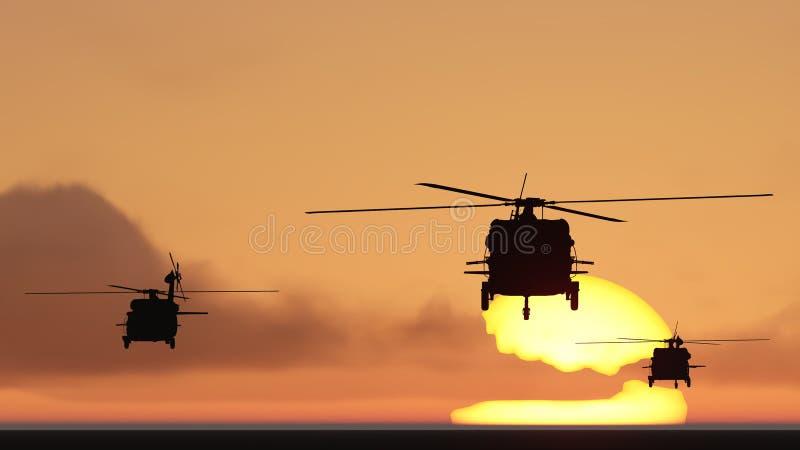 Os helicópteros expõem ao sol o grupo ilustração stock