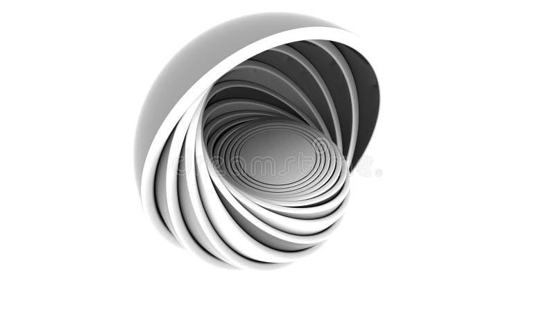 Os hemisférios cinzentos e pretos abstratos couberam-se rendição 3d ilustração do vetor