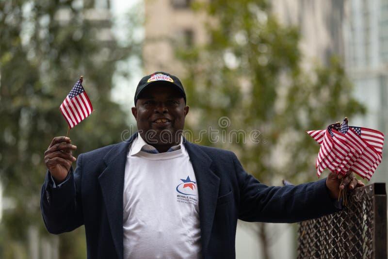 Os heróis americanos desfilam foto de stock