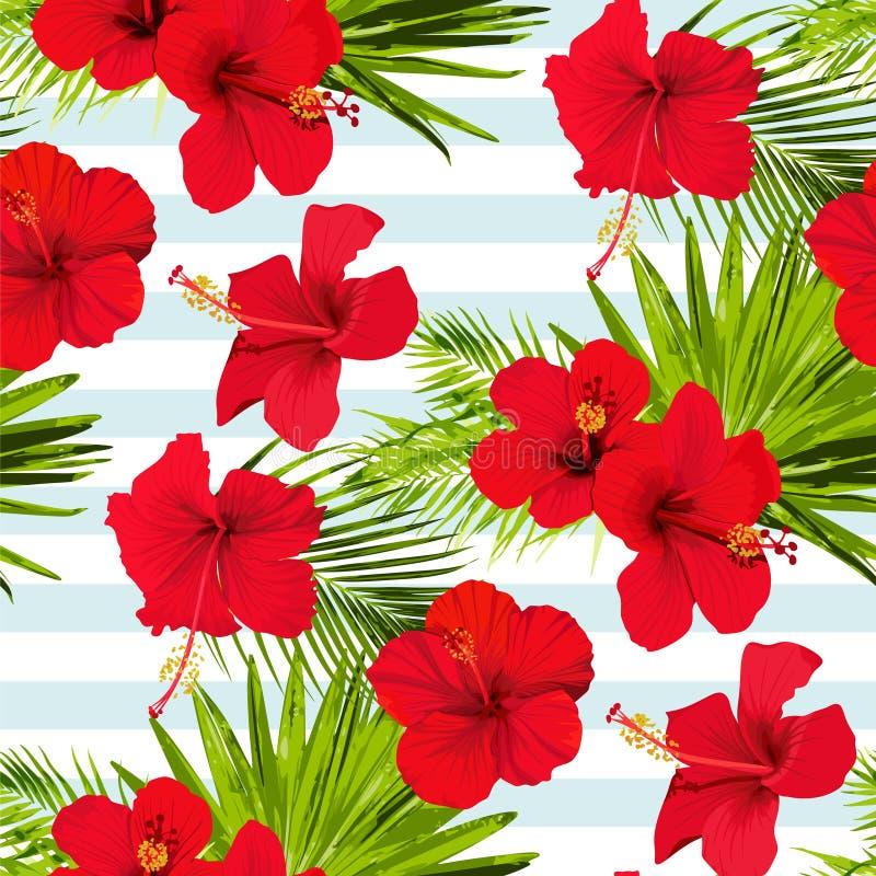 Os hibiscus florescem o teste padrão sem emenda do vetor em uma textura tropical florescida fundo das listras azuis ilustração royalty free
