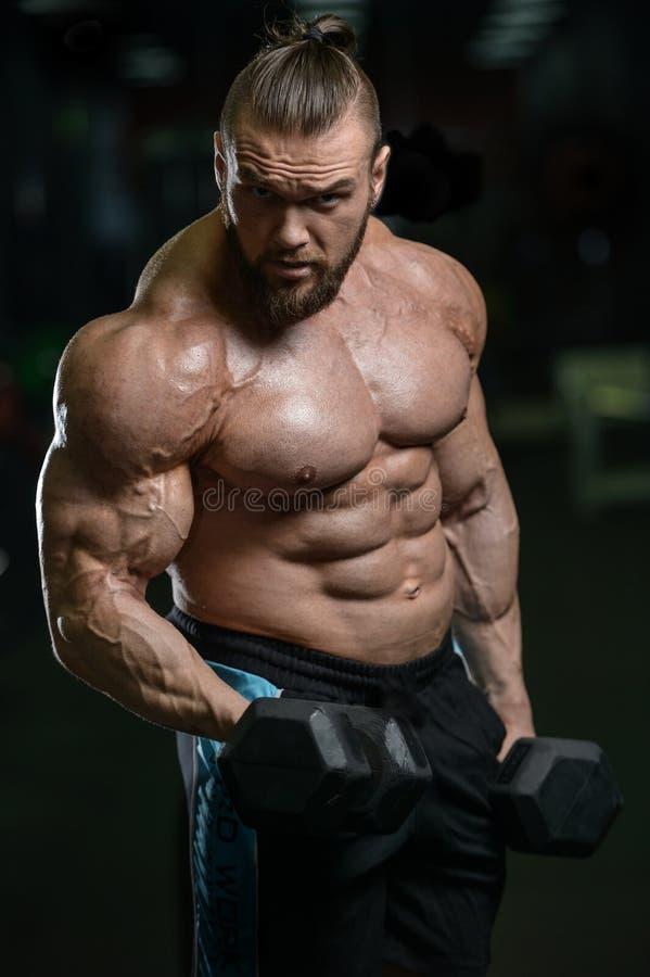 Os homens atléticos do halterofilista forte brutal que bombeiam acima muscles com d imagens de stock