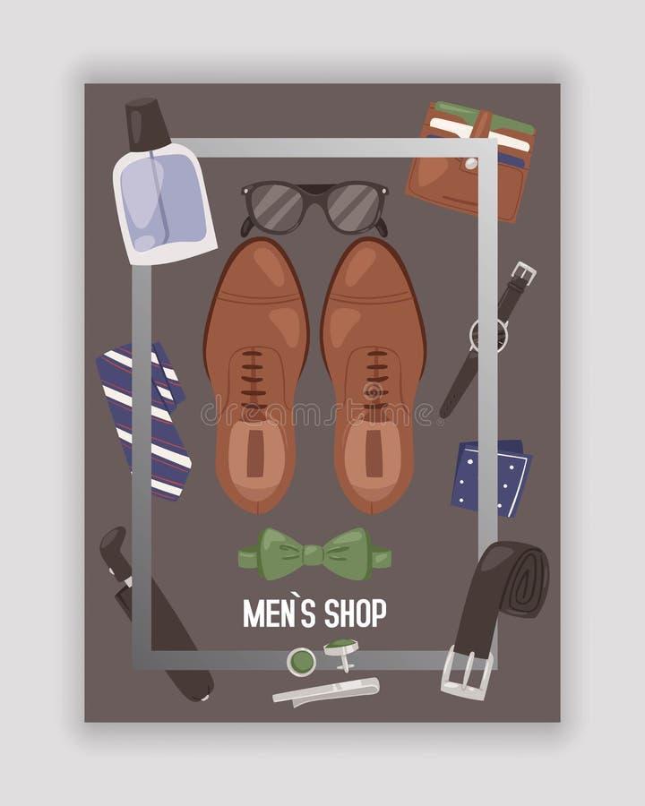 Os homens compram ou armazenam com ilustração do vetor do cartaz dos acessórios Sapatas dos fundamentos da roupa, laço, curva, co ilustração royalty free