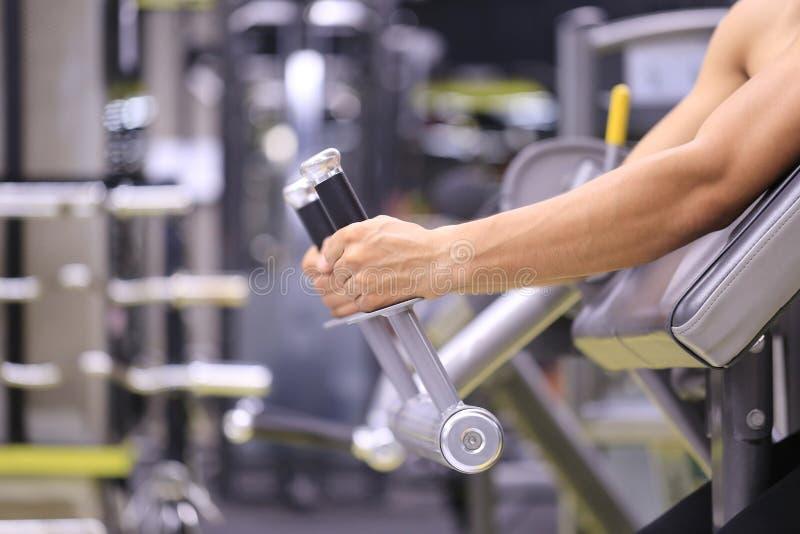 Os homens consideráveis entregam guardar o equipamento da aptidão para a gordura da queimadura no corpo no gym do esporte, no est imagem de stock royalty free