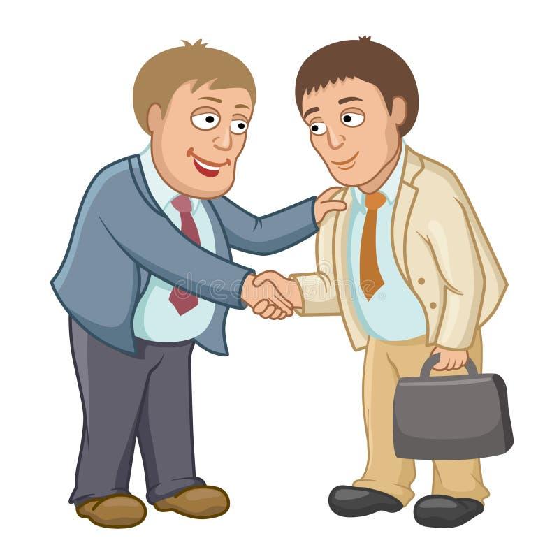 Os homens de negócios agitam as mãos como um sinal da cooperação ilustração do vetor