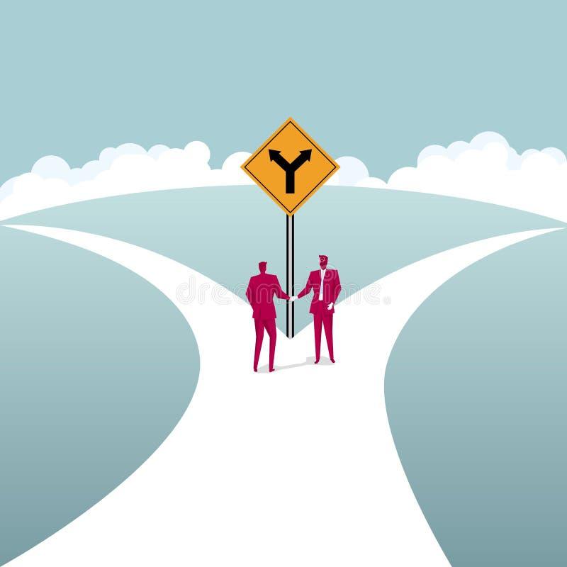Os homens de negócios agitam as mãos na estrada da forquilha Conceito da cooperação do negócio ilustração royalty free