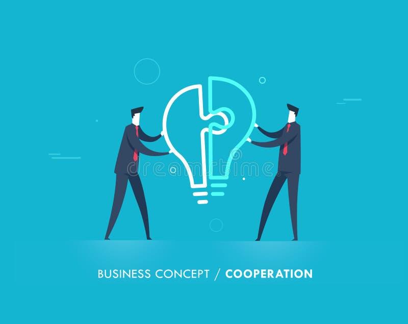Os homens de negócios conectam o enigma da lâmpada ilustração royalty free