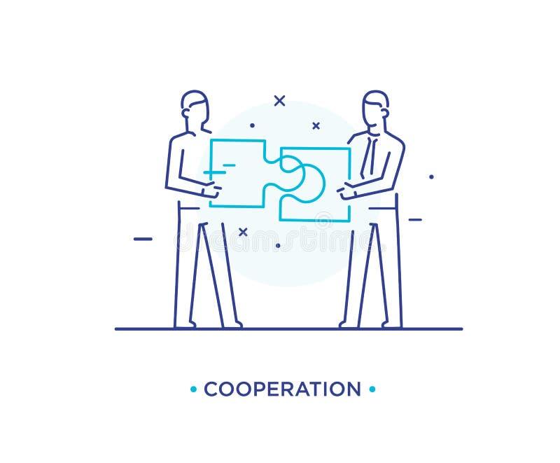 Os homens de negócios conectam o enigma Esforços conjuntos, sucesso, união Cooperação do sucesso linha ilustração do ícone ilustração royalty free