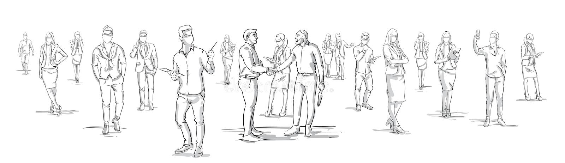 Os homens de negócios da silhueta agitam as mãos com executivos do grupo no fundo, empresários que agitam as mãos horizontais ilustração do vetor