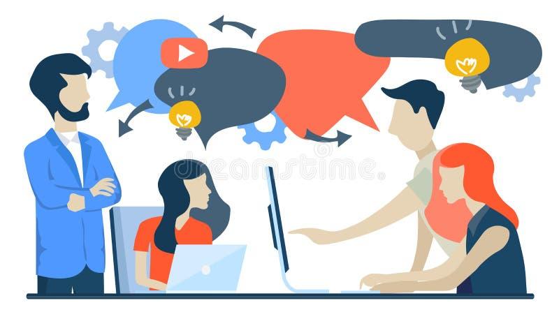 Os homens de negócios discutem a rede social, notícia, redes sociais, bate-papo, bolhas do discurso do diálogo, projetos novos Ve ilustração royalty free