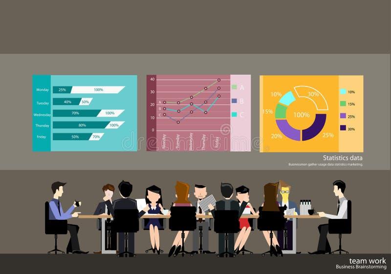 Os homens de negócios do vetor conceituam a reunião junto com gráficos e as estatísticas indicam o projeto liso ilustração stock