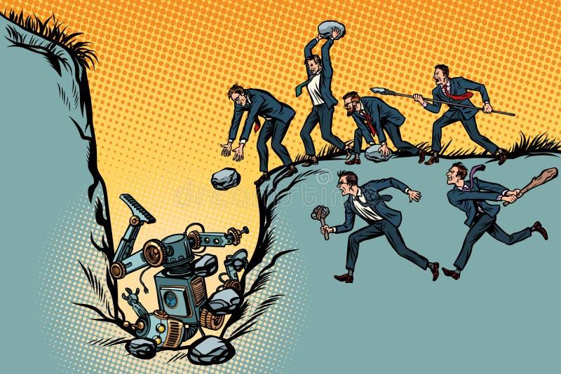 Os homens de negócios dos selvagens matam o robô Luta para trabalhos Povos outra vez ilustração stock