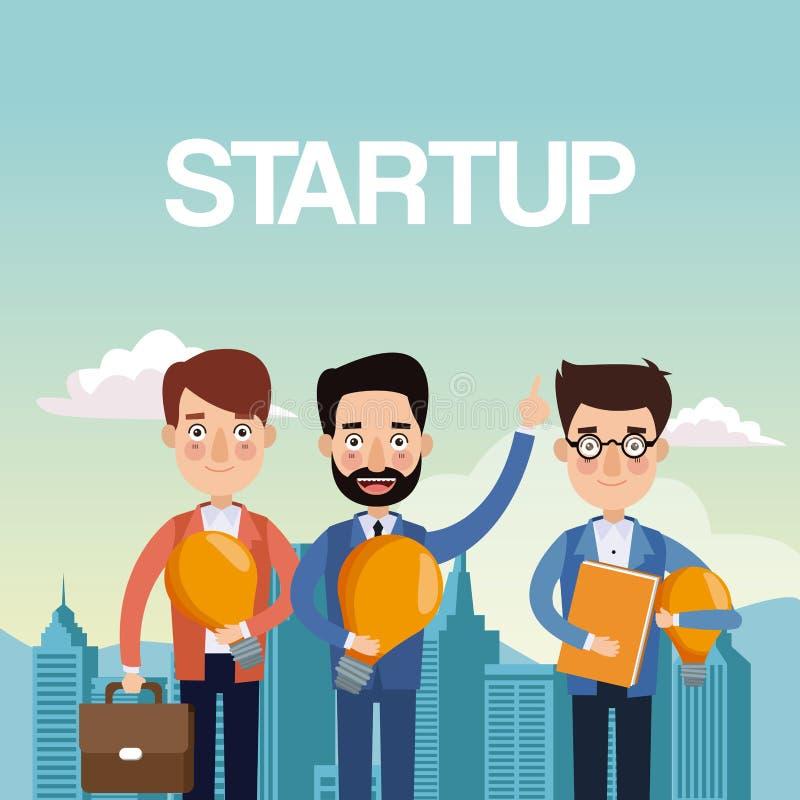 Os homens de negócios dos trabalhos de equipa do fundo da paisagem da cidade com ampola e portfólio star acima ilustração stock