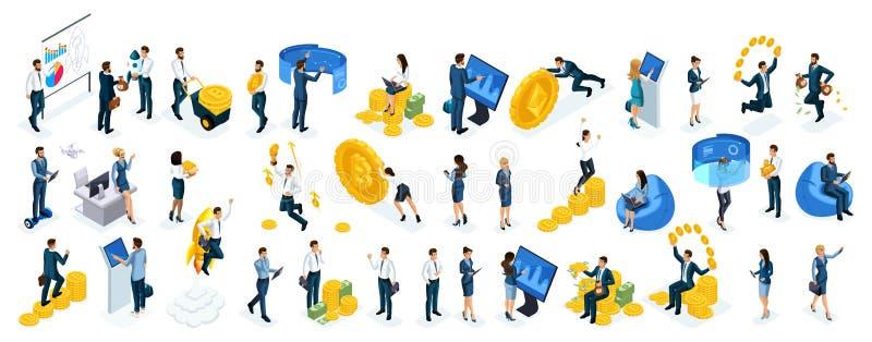 Os homens de negócios e as senhoras ajustados grandes isométricos do negócio usam telas virtuais para comprar a moeda cripto em l ilustração royalty free
