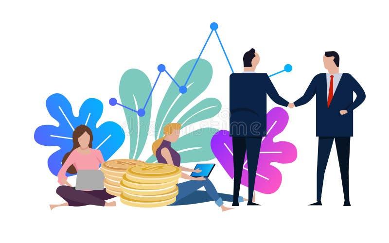 Os homens de negócios e a mulher agitam as mãos Acordo do negócio e terminado o negócio com um aperto de mão Trabalho fêmea no po ilustração do vetor