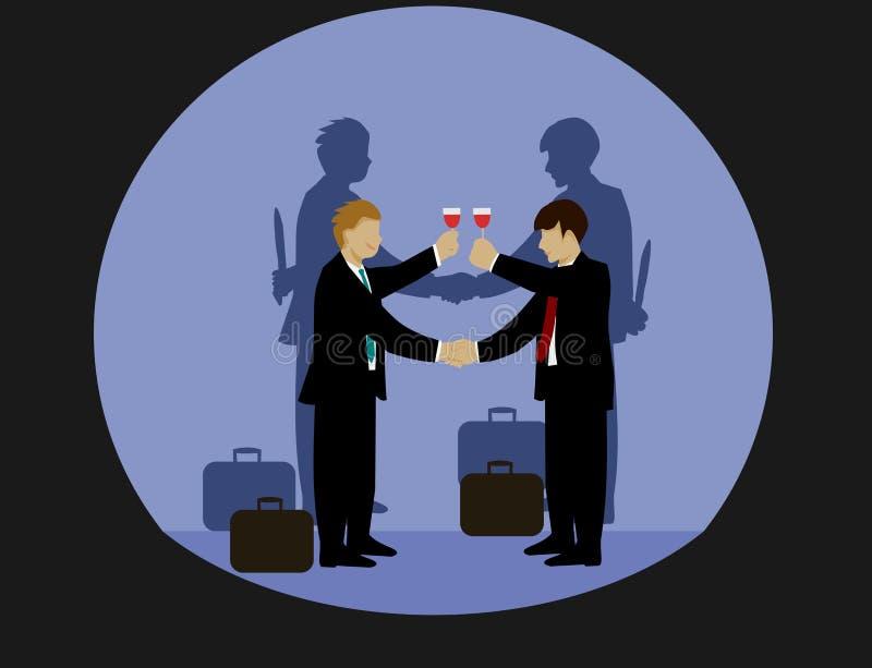 Os homens de negócios estão guardando as mãos e o vinho bebendo Mas a sombra em ambos os lados de sua mão guarda uma faca ilustração do vetor