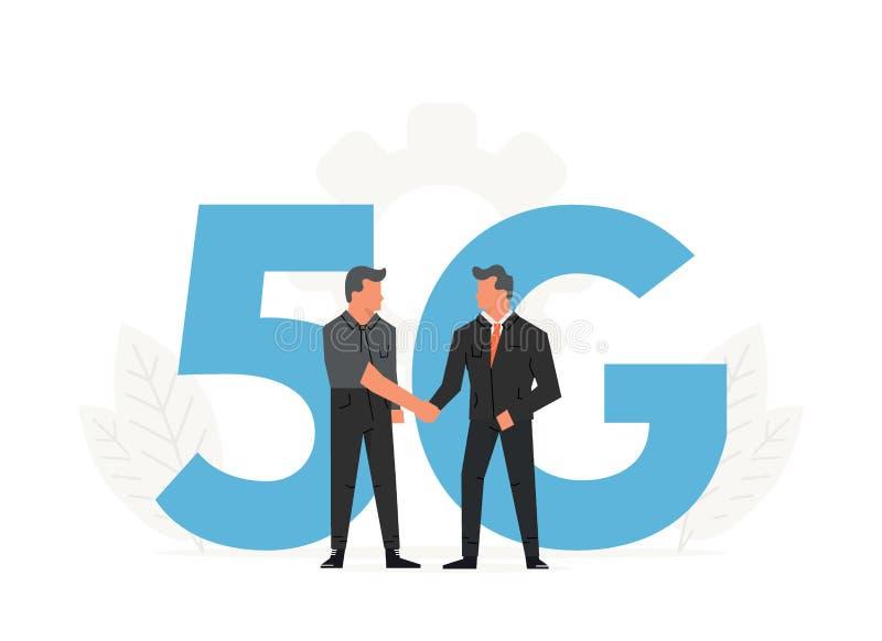 Os homens de negócios fazem um contrato antes das letras grandes 5G Rádio da rede da quinta geração, tecnologia do Internet ilustração royalty free