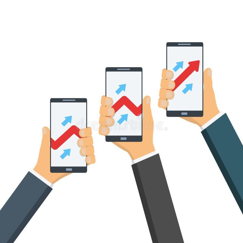 Os homens de negócios guardam os dispositivos, telefones com os gráficos, crescendo o gráfico de negócio ilustração do vetor