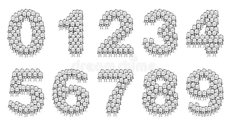 Os homens de negócios numeram 0 a 9 ilustração do vetor