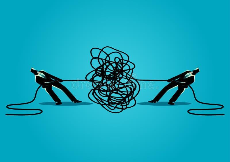 Os homens de negócios que tentam desembaraçar tangled a corda ou o cabo ilustração royalty free