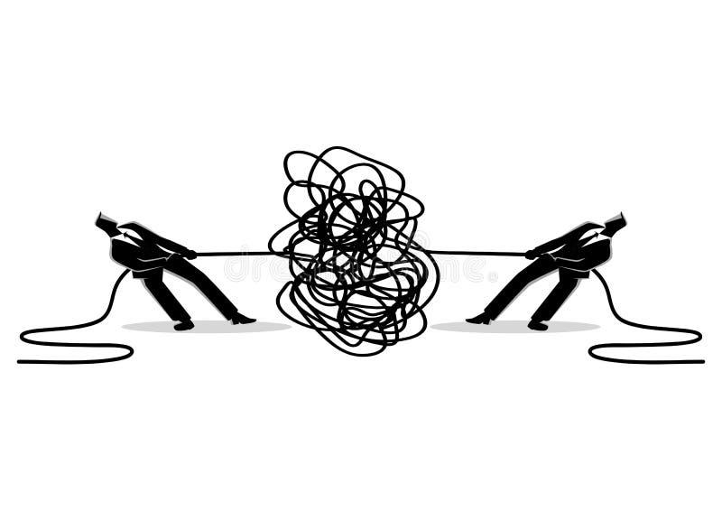 Os homens de negócios que tentam desembaraçar tangled a corda ou o cabo ilustração do vetor
