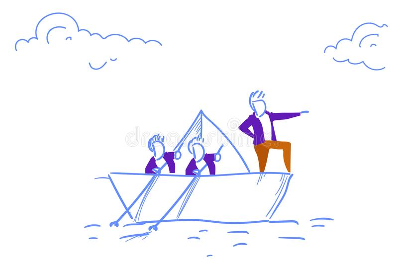 Os homens de negócios team do esboço bem sucedido do sentido do conceito da liderança dos trabalhos de equipa do barco de papel d ilustração do vetor