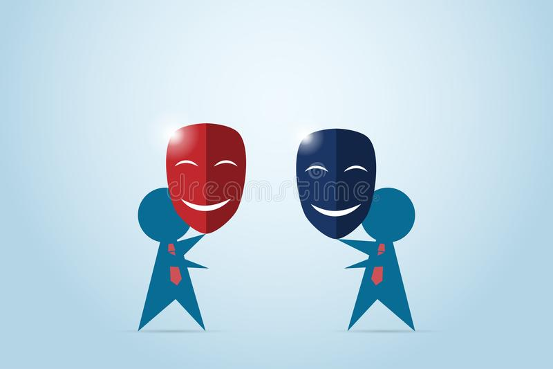 Os homens de negócios tentam agitar a mão e guardar vermelho e escuro - máscaras azuis, conceito do negócio ilustração stock