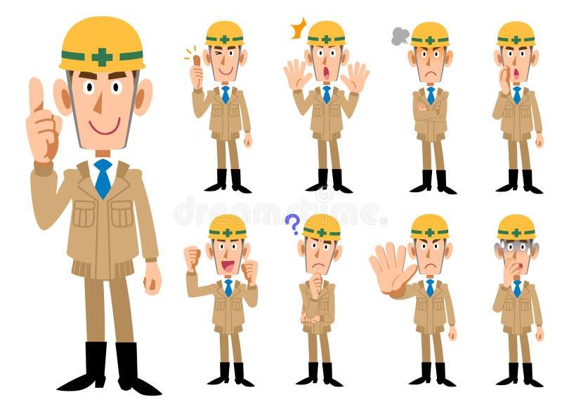 Os homens do _da indústria da construção civil no bege coloriram a roupa de trabalho ilustração royalty free