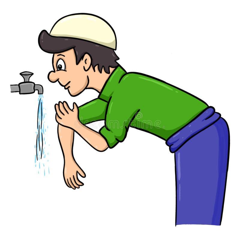 Os homens dos desenhos animados tomam o wudhu para limpar seu corpo antes do shalat ilustração stock