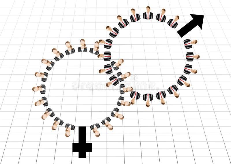 Os homens e as mulheres fêmeas masculinos da equipe do trabalho do negócio assinam ilustração stock