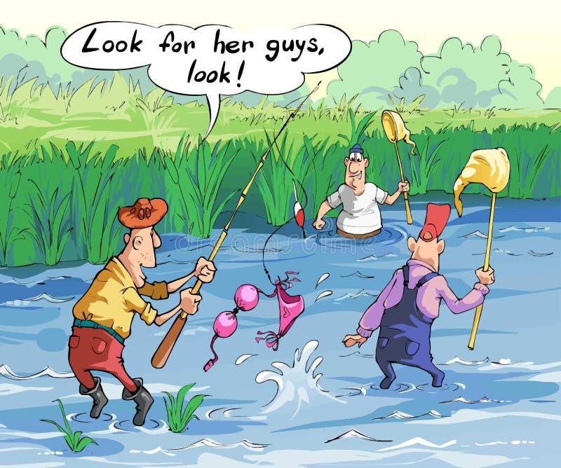 Os homens em uma viagem de pesca travaram um roupa de banho ilustração royalty free