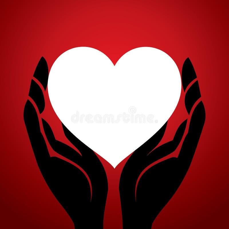 Os homens entregam no símbolo do coração ilustração stock