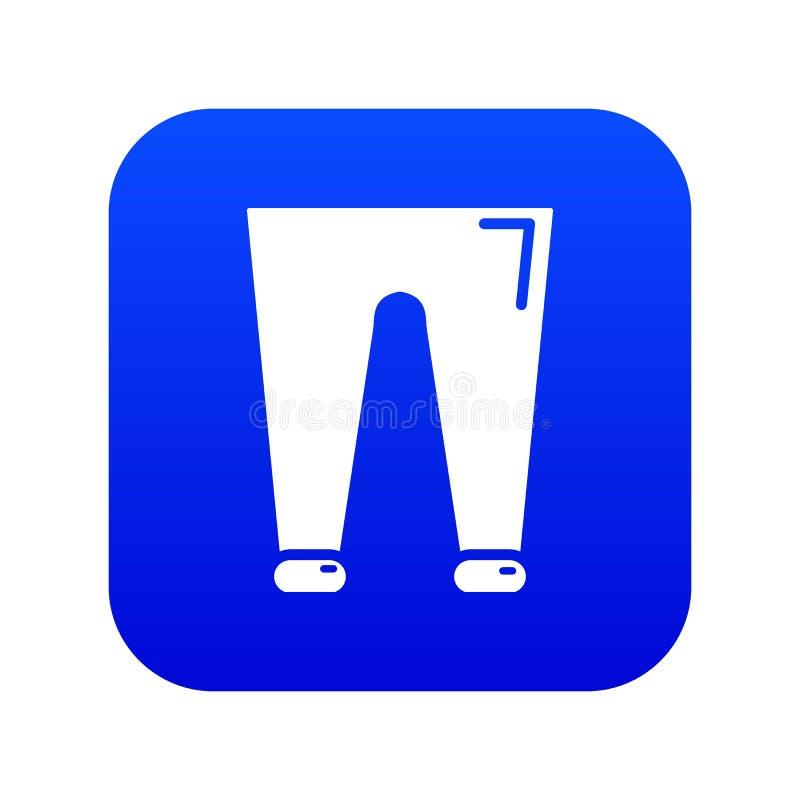Os homens formam a ícone accesory das calças o vetor azul ilustração stock