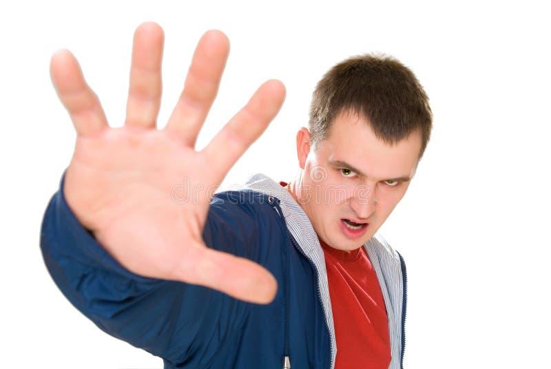 Os homens irritados dizem o batente com palma acima fotos de stock royalty free