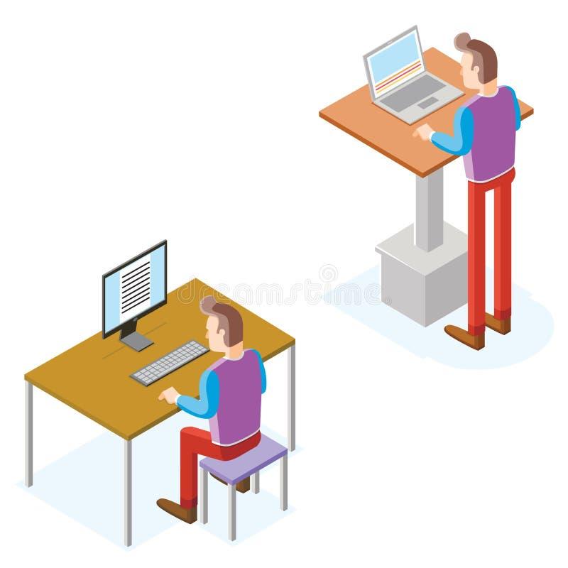 Os homens isométricos trabalham com computador e portátil ilustração do vetor