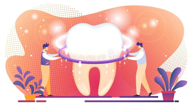 Os homens minúsculos estabelecem a tela de brilho no dente gigante ilustração royalty free