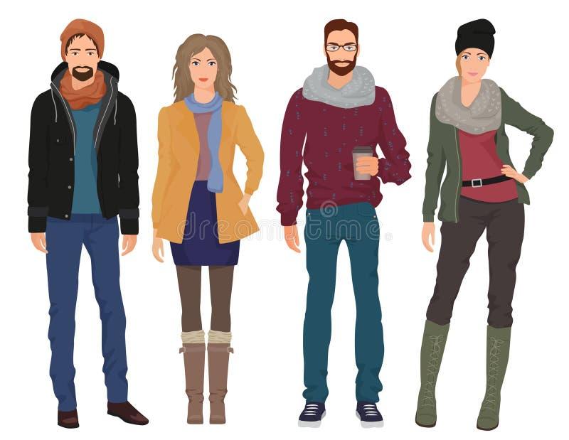 Os homens novos consideráveis dos indivíduos com meninas bonitas modelam na roupa moderna ocasional da forma da mola do outono Po ilustração stock