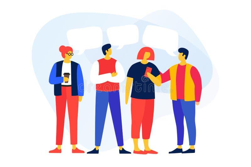 Os homens novos e as mulheres dos desenhos animados que falam entre si, discutem a notícia, redes sociais ilustração stock