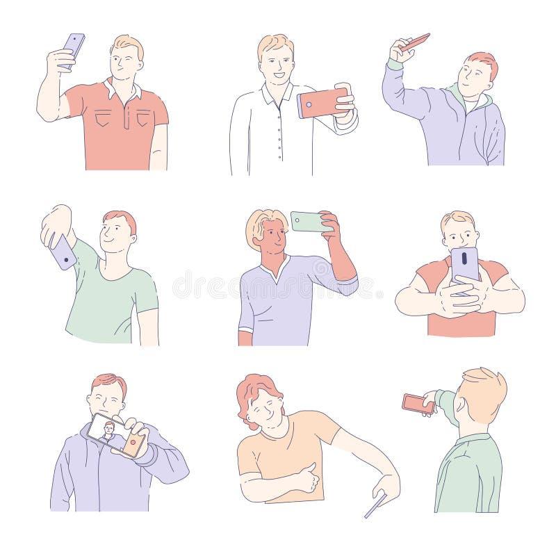 Os homens que tomam o selfie com smartphones isolaram os caráteres masculinos dos ícones ilustração stock