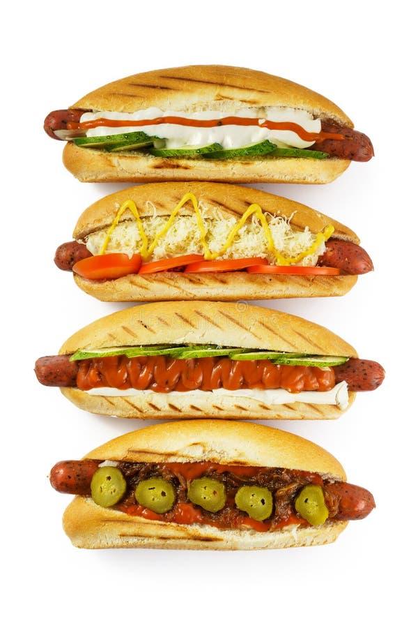 Os hotdogs isolados veem de cima de fotografia de stock royalty free