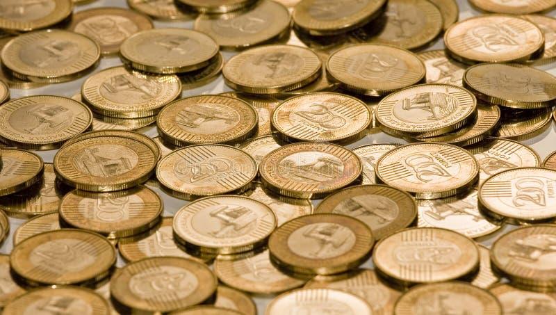 Os Hungarians NOVOS twohundred a forint (as moedas do montão) fotografia de stock royalty free