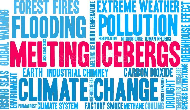 Os iceberg de derretimento exprimem a nuvem ilustração do vetor