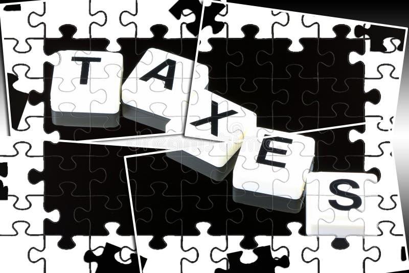 Os impostos da palavra - um termo usado para o conceito do negócio, da finança e do governo ilustração stock