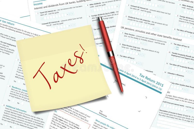 Os impostos notam, pena e formulários de imposto do Reino Unido que encontram-se na mesa ilustração royalty free